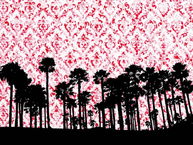 Image of palm trees against red pattern sky