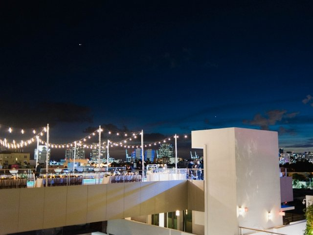 Rooftop pool deck at night