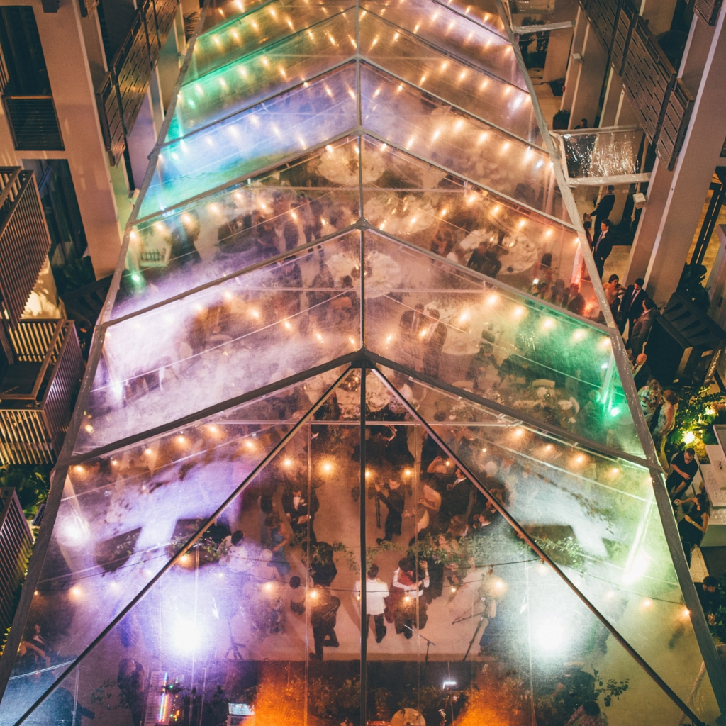 Top view of a lit up tent