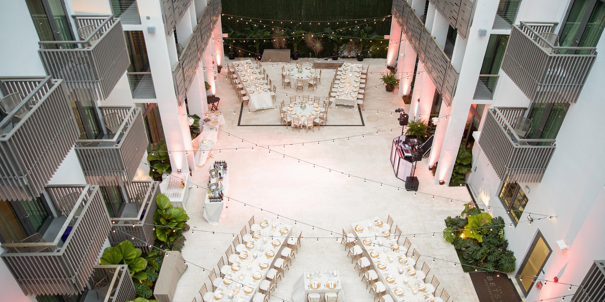 Aerial view of wedding guest dining table decor